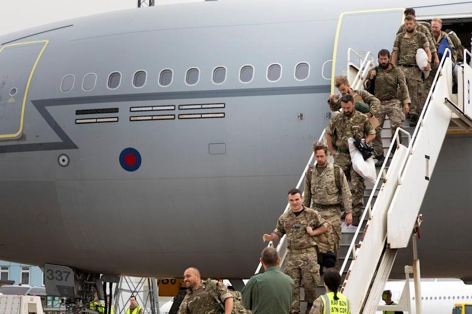 Military personnel arrive at RAF Brize Norton, in Oxford, base after being evacuated from Afghanistan (MoD/Reuters)
