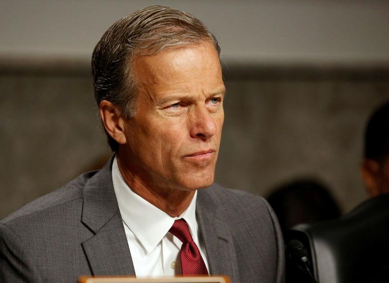 FILE PHOTO: Senator John Thune (R-SD), chairman of the Senate Commerce, Science and Transportation Committee, questions executives from AT&T, Amazon, Google, Apple and Twitter on safeguards for consumer data privacy in Washington