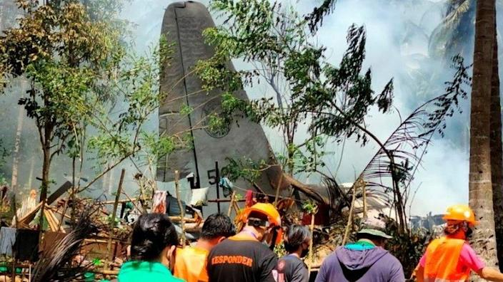 Site of military transporter plane crash in the Philippines, 4 July 2021