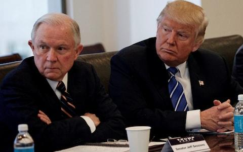 Jeff Sessions, left, with Donald Trump, the US president - Credit: REUTERS/Mike Segar/File Photo