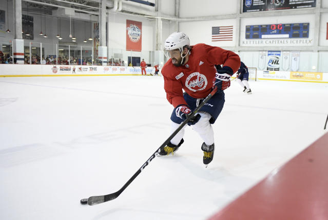 Washington Capitals left wing Alex Ovechkin, of Russia, skates during NHL hockey practice, Saturday, May 26, 2018, in Arlington, Va. Ovechkin is having fun, scoring goals, leading the Capitals to the Stanley Cup Final and destroying the bad rep some laid on him for not being able to get past the second round of the playoffs. (AP Photo/Nick Wass)