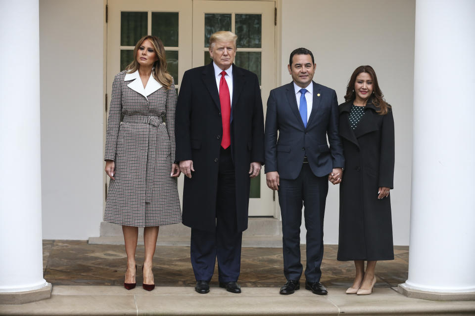President Donald Trump and first lady Melania Trump welcome Guatemalan President Jimmy Morales and his wife Patricia Marroquin de Morales at the White House. [Photo: PA]