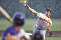 Tennessee pitcher Chad Dallas (36) throws to an LSU batter during an NCAA college baseball super regional game Saturday, June 12, 2021, in Knoxville, Tenn. (AP Photo/Wade Payne)