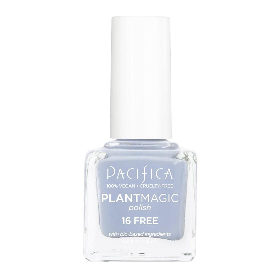 You'll wonder why more brands aren't switching to mostly vegetable biomass for their nail-polish ingredients when you see how long Pacifica Plant Magic Polish lasts, even without a top or basecoat. The brand upgraded and replaced its 7 Free Nail Color with this 16-free formula, and while there aren't as many shades as before, the 21 that are available, like the dreamy Blue Moon seen here, are too good to not make a part of your manicure wardrobe.