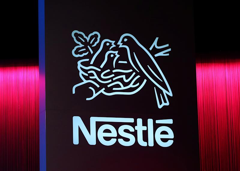 A logo is pictured during the 152nd Annual General Meeting of Nestle in Lausanne, Switzerland April 11, 2019. REUTERS/Denis Balibouse