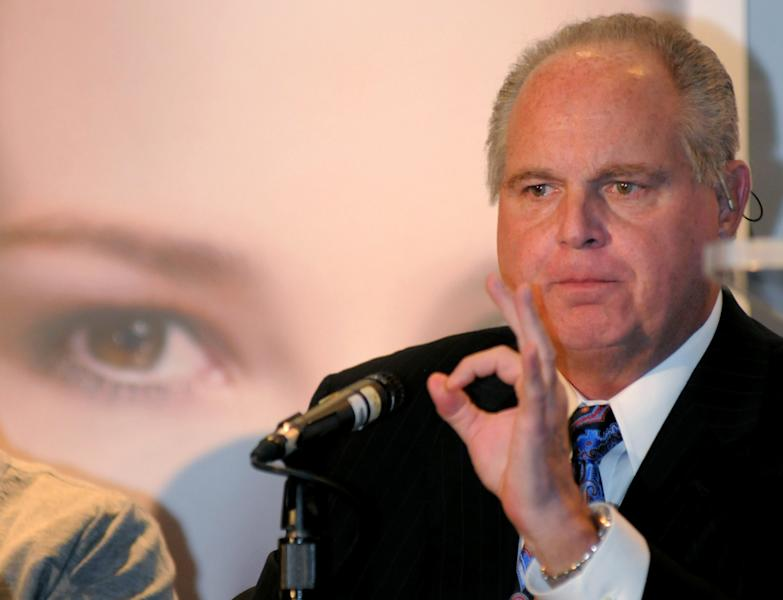 "FILE - In this Wednesday, Jan. 27, 2010 photo provided by the Las Vegas News Bureau, radio talk-show host Rush Limbaugh, one of six judges for the pageant, speaks during a Miss America news conference at Planet Hollywood in Las Vegas. Limbaugh drew fire Friday, March 2, 2012 from many directions for his depiction of a college student as a ""slut"" because she testified before Congress about the need for contraceptive coverage. (AP Photo/Las Vegas News Bureau, Brian Jones)"