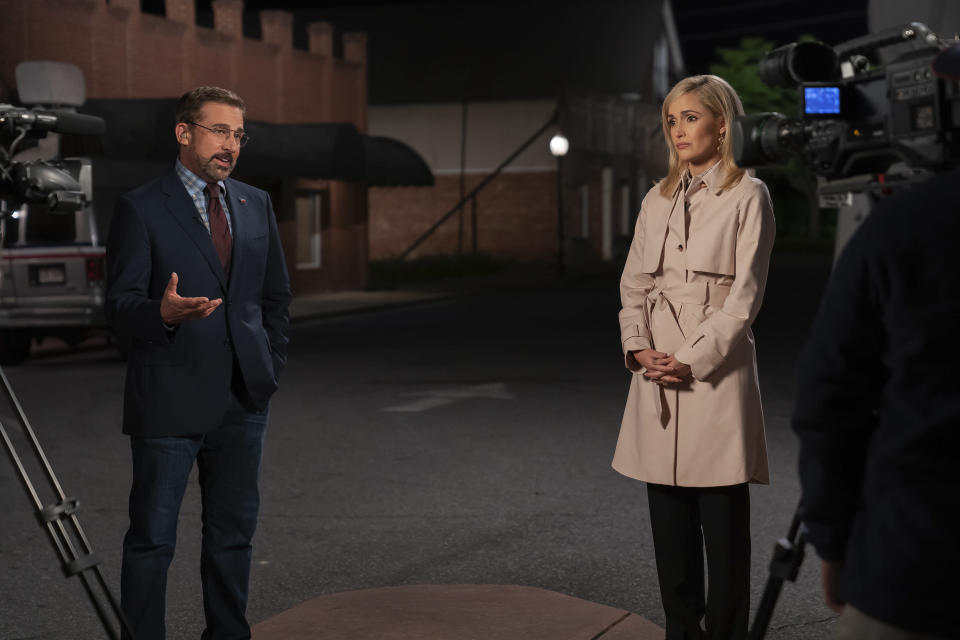 "In this image released by Focus Features, Steve Carell, left, and Rose Byrne appear in a scene from ""Irresistible."" (Daniel McFadden/Focus Features via AP)"