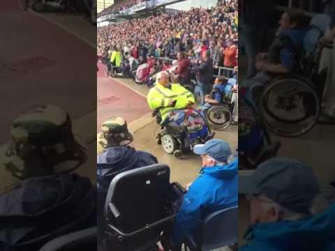 <p>Soccer fans famously don't hold back when celebrating their team's goals.</p><p>This Burnley football club fan couldn't contain his excitement as the team scored a goal while playing Liverpool. He quickly spun around in his motorized wheelchair to the delight of the crowd. Credit: itsjustste via Storyful</p>