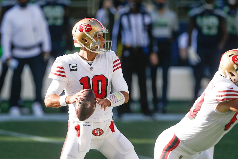 San Francisco 49ers quarterback Jimmy Garoppolo is looking forward to working with rookie Trey Lance.