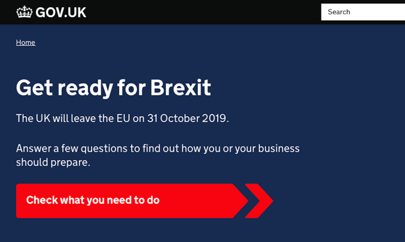 The Get Ready For Brexit web portal. (Picture: Gov.uk)