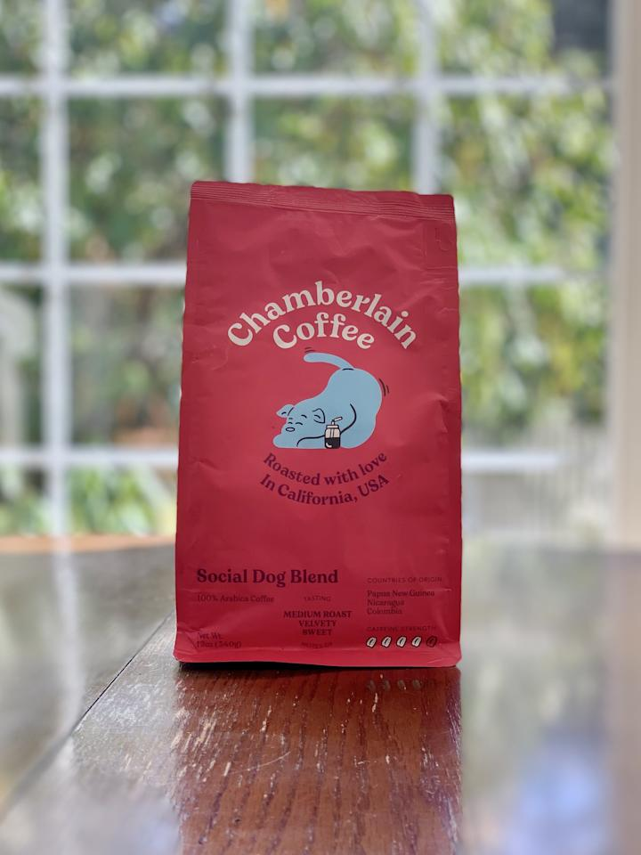 """<p><strong>Basic info:</strong> Medium roast described as """"velvety"""" and """"sweet.""""</p> <p>French roast is your favorite coffee? <a href=""""https://chamberlaincoffee.com/products/social-dog-blend"""" target=""""_blank"""" class=""""ga-track"""" data-ga-category=""""internal click"""" data-ga-label=""""https://chamberlaincoffee.com/products/social-dog-blend"""" data-ga-action=""""body text link"""">Social Dog Blend</a> is the closest match, as far as I can tell. We drink french roast every day, and this was very similar to my morning cup. I was surprised to find out that this blend has """"a graham cracker finish"""" - is that why I loved it so much?!</p>"""
