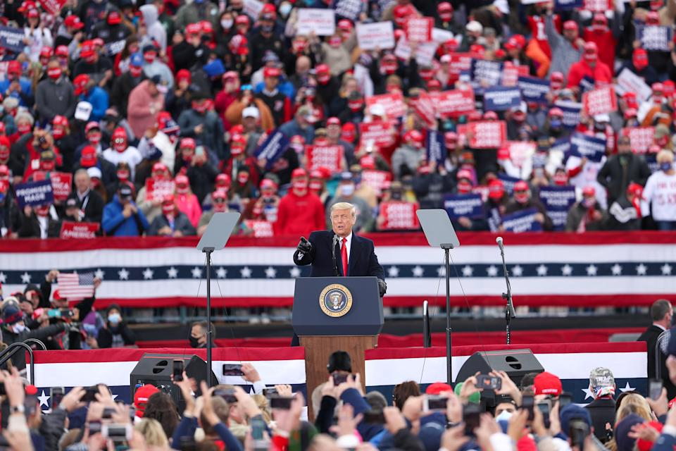 PENNSYLVANIA, USA - OCTOBER 31: US President Donald Trump addresses his supporters during a rally in Pennsylvania, United States on October 31, 2020. (Photo by Tayfun Coskun/Anadolu Agency via Getty Images)
