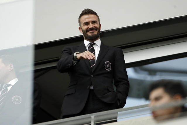 David Beckham. (AP Photo/Marcio Jose Sanchez)