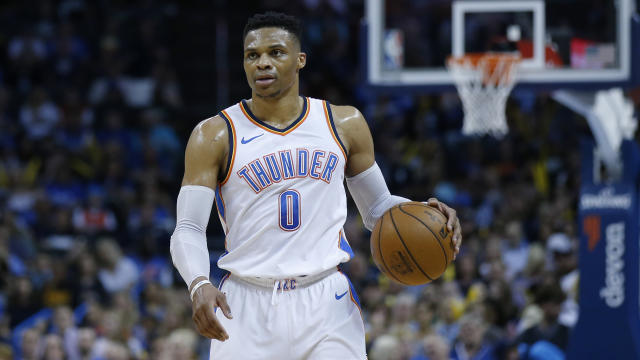 "An Oklahoma Thunder broadcaster said that <a class=""link rapid-noclick-resp"" href=""/nba/players/4390/"" data-ylk=""slk:Russell Westbrook"">Russell Westbrook</a> was ""out of his cotton-picking mind"" on Wednesday night. (AP Photo/Sue Ogrocki)"