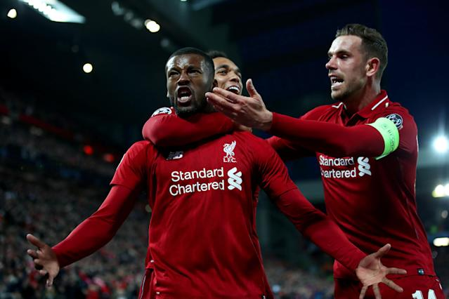 Georginio Wijnaldum, Jordan Henderson and Trent Alexander-Arnold celebrate the equaliser on aggregate.