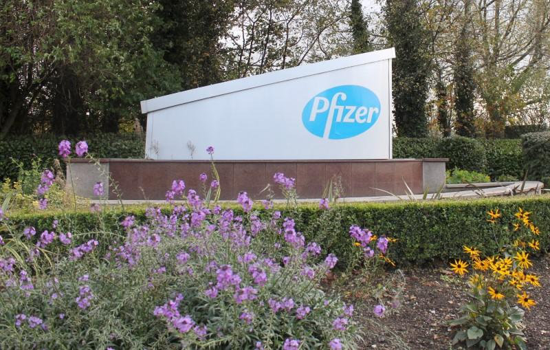 Sign is seen at the Pfizer manufacturing plant in Newbridge, County Kildare, Ireland