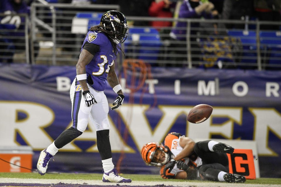 Alex Collins was a notable bright spot for Baltimore's offense last season. (AP Photo/Nick Wass)