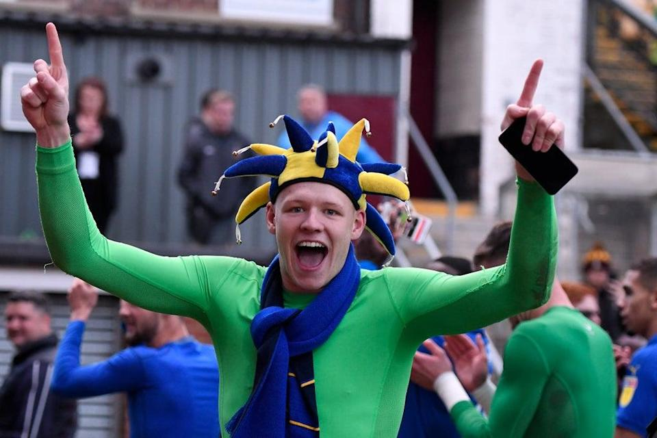 Aaron Ramsdale celebrates after helping AFC Wimbledon stay up in League One while on loan there (Getty Images)