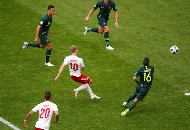 Soccer Football - World Cup - Group C - Denmark vs Australia - Samara Arena, Samara, Russia - June 21, 2018 Denmark's Christian Eriksen scores their first goal REUTERS/David Gray