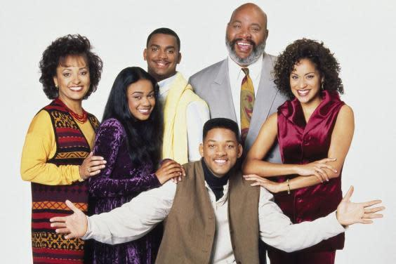 Daphne Reid, Tatyana Ali, Alfonso Ribeiro, James Avery, Karyn Parsons, Will Smith in a promotional image for 'The Fresh Prince of Bel-Air'. (Photo by Nbc/Stuffed Dog/Quincy Jones Ent/Kobal/REX)