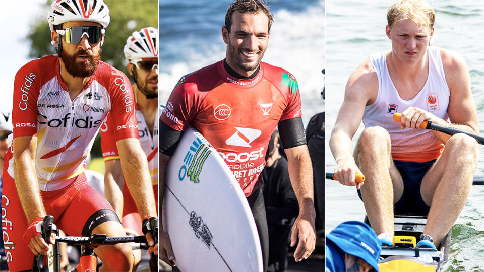 Tour de France cyclist Simon Geschke (pictured left), surfer Frederico Morais (pictured middle) and Dutch rower Finn Florijn (pictured right) were ruled out of the Olympics due to Covid-19.