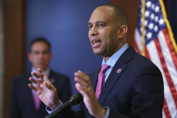 House Democratic Caucus Chair Hakeem Jeffries, D-N.Y., speaks to reporters after a meeting with Biden administration officials to discuss progress on an infrastructure bill, at the Capitol in Washington, Tuesday, June 15, 2021. (AP Photo/J. Scott Applewhite)