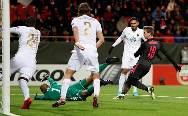 Soccer Football - Europa League Round of 32 First Leg - Ostersunds FK vs Arsenal - Jamtkraft Arena, Ostersund, Sweden - February 15, 2018 Arsenal's Nacho Monreal scores their first goal Action Images via Reuters/Peter Cziborra