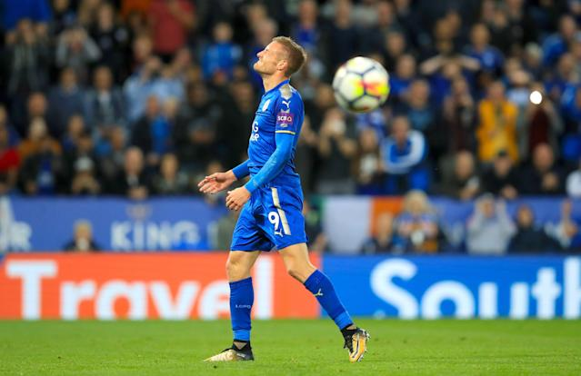 Jamie Vardy reacts after missing a penalty which, if successful, would have made it 3-3