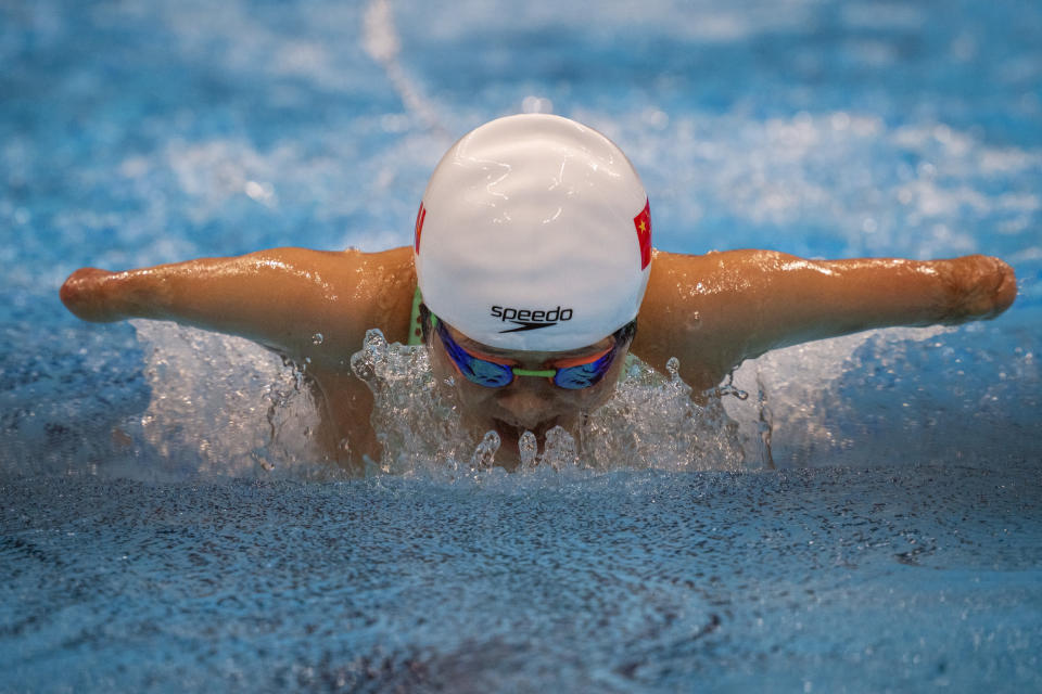 Daomin Liu competes at Women's 200m Individual Medley - SM6 Heat 1 at the Tokyo Aquatics Centre during the Tokyo 2020 Paralympic Games in Tokyo, Japan on Thursday, Aug. 26, 2021. There are 4,403 Paralympic athletes competing in Tokyo, each with unique differences that have to be classified in the quest for fairness, to group similar impairments, or impairments that yield similar results. (AP Photo/Emilio Morenatti, File)