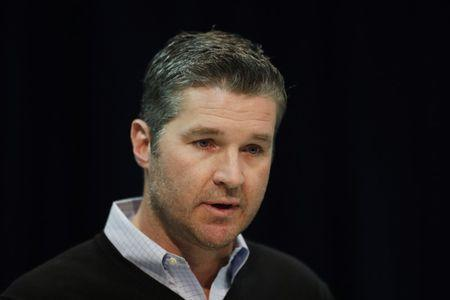 FILE PHOTO: Feb 28, 2019; Indianapolis, IN, USA; Houston Texans general manager Brian Gaine speaks to the media during the 2019 NFL Combine at the Indianapolis Convention Center. Mandatory Credit: Brian Spurlock-USA TODAY Sports