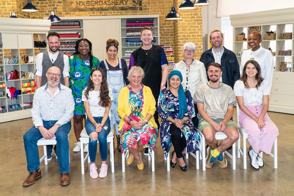 The cast of this year's Great British Sewing Bee posing with host Joe Lycett (Photo: BBC/Love Productions/Mark Bourdillon)