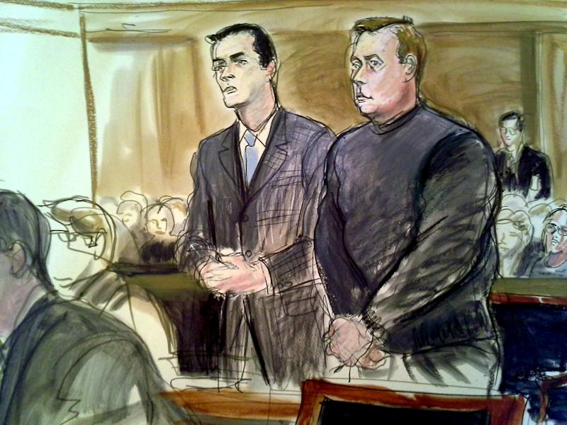 In this courtroom sketch, New York City Councilmember Dan Halloran, center right, stands in federal court next to his attorney Dennis J. Ring Tuesday, April 2, 2013, in White Plains, N.Y., in connection with in an alleged plot to rig the New York City's mayor's race. Halloran, 42, was arrested at his home early Tuesday and charged with fraud and bribery conspiracy, accused of negotiating bribes for New York state Sen. Malcolm Smith, a Democrat charged with fraud and bribery conspiracy for allegedly trying to buy his way into the New York City mayoral race as a Republican. (AP Photo/Elizabeth Williams)