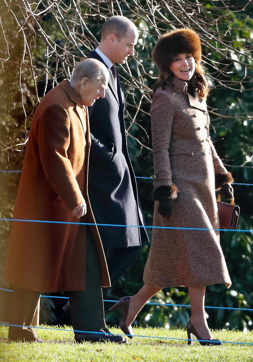 <p><strong>The occassion:</strong> Sunday services at St Mary Magdalene Church in Sandringham.<br><strong>The look:</strong> Moloh brown tweed coat with a fur hat and brown pup heels. <br>[Photo: Getty] </p>