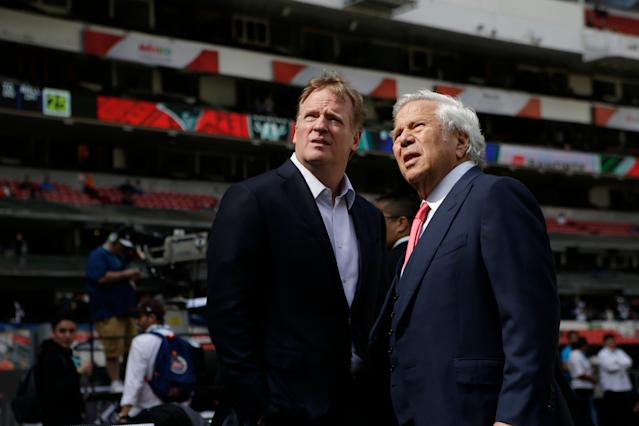 NFL commissioner Roger Goodell (L) and Patriots owner Robert Kraft could be at odds again. (AP)