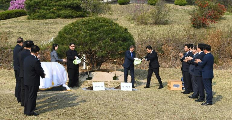The North's Kim Jong Un and the South's Moon Jae-in were armed with bright-green watering cans for the tree planting