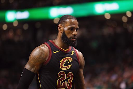 BOSTON, MA - MAY 23: LeBron James #23 of the Cleveland Cavaliers reacts in the first half against the Boston Celtics during Game Five of the 2018 NBA Eastern Conference Finals at TD Garden on May 23, 2018 in Boston, Massachusetts. (Photo by Maddie Meyer/Getty Images)
