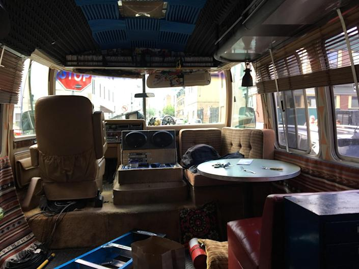 """A view of the driver and passenger seat area of the Airstream RV occupied in """"Sound of Metal."""""""