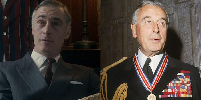 """<p>If <em>The Crown</em>'s Louis Mountbatten, 1st Earl Mountbatten of Burma, looks familiar, it's probably because the actor Greg Wise played Willoughby in <em>Sense and Sensibility</em>. (Fun fact: <em>Sense and Sensibility</em> also starred the great Emma Thompson, who happens to be Greg's wife of nearly 15 years.) In real life (and as shown on <em>The Crown</em>), Prince Philip's Uncle """"Dickie"""" became a great mentor to Philip and Queen Elizabeth's son Prince Charles. Tragically, though, the mentorship ended in 1979 when Mountbatten and members of his family were assassinated by the Provisional IRA while the group was fishing in Ireland. Mountbatten received a ceremonial funeral at Westminster Abbey, which included a reading from Prince Charles.</p>"""