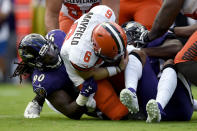 Baltimore Ravens linebacker Pernell McPhee (90) sacks Cleveland Browns quarterback Baker Mayfield (6) during the first half of an NFL football game Sunday, Sept. 29, 2019, in Baltimore. (AP Photo/Gail Burton)