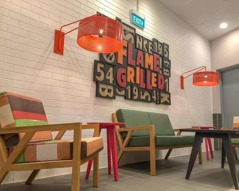 Lounge chairs and design metal shades. (PHOTO: Burger King)