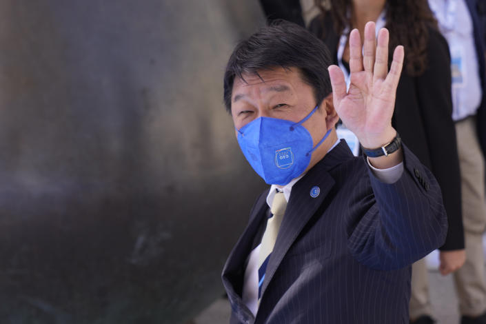 Japan' Foreign Minister Toshimitsu Motegi arrives in Matera, Italy, for a G20 foreign affairs ministers' meeting Tuesday, June 29, 2021.(AP Photo/Antonio Calanni)