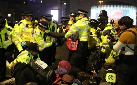 The number of arrests surged overnight after police restricted the protesters to Marble Arch only - Credit: Anadolu Agency