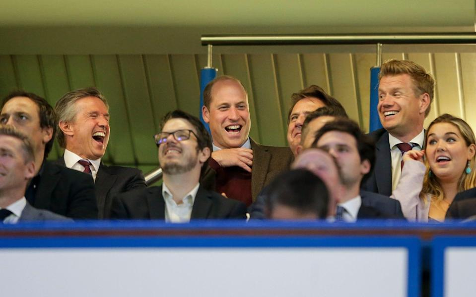 Aston Villa Christian Purslow with Prince William, Duke of Cambridge, an Aston Villa fan, as they react after Cameron Archer of Aston Villa scores a goal to make it 1-1 during the Carabao Cup Third Round - Robin Jones/Getty Images