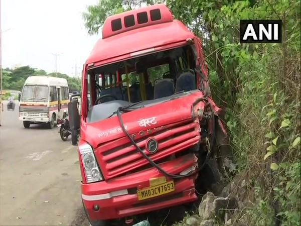 BEST Bus number 27 met with an accident at Eastern Express Highway (Photo/ANI)