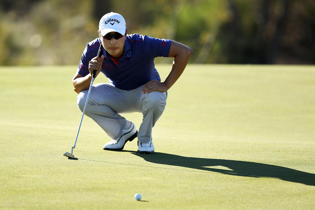 MARANA, AZ - FEBRUARY 24:  Sang-moon Bae of South Korea lines up his putt on the 18th hole during the third round of the World Golf Championships-Accenture Match Play Championship at the Ritz-Carlton Golf Club on February 24, 2012 in Marana, Arizona.  (Photo by Andy Lyons/Getty Images)