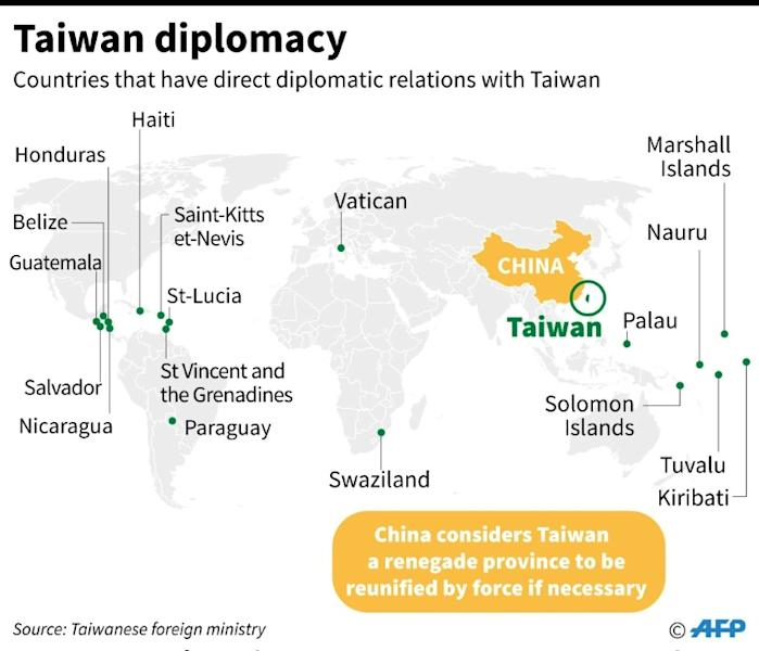 Map showing the 18 countries that have formal diplomatic ties with Taiwan, after Burkina Faso cut links