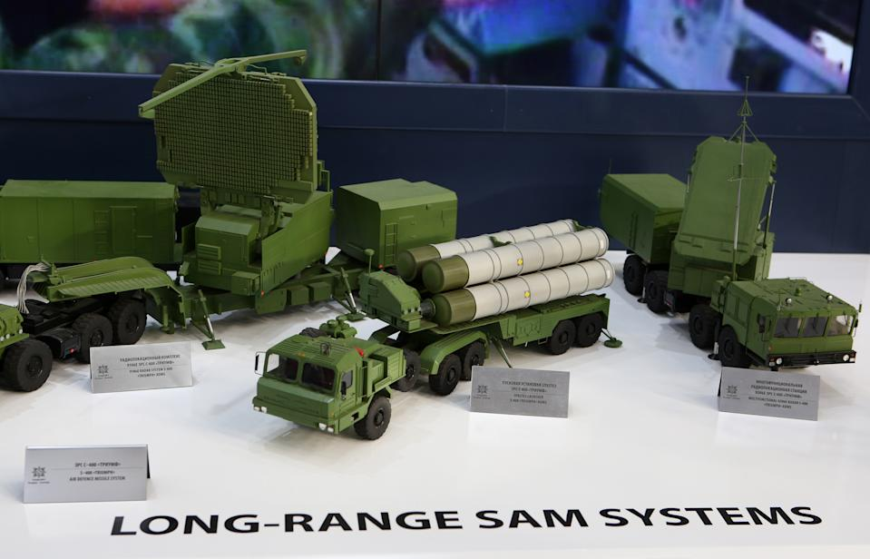BENGALURU, INDIA - FEBRUARY 20, 2019: Models of components of the S-400 Triumph air defence missile system (left: 91N6E radar system; centre: SP8STE3 launcher; right: multifunctional 92N6E radar) on display at the Almaz-Antey Corporation stand at the 12th edition of Aero India Show, Aero India 2019, at the Yelahanka Air Force Station in Bengaluru (Bangalore), Karnataka, India. Marina Lystseva/TASS (Photo by Marina Lystseva\TASS via Getty Images)