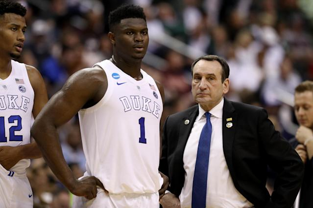 <p>Zion Williamson #1 and head coach Mike Krzyzewski of the Duke Blue Devils talk against the Virginia Tech Hokies during the first half in the East Regional game of the 2019 NCAA Men's Basketball Tournament at Capital One Arena on March 29, 2019 in Washington, DC. (Photo by Patrick Smith/Getty Images) </p>