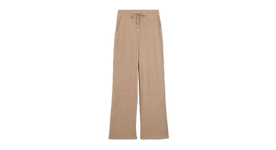 Jersey Ribbed Wide Leg Joggers