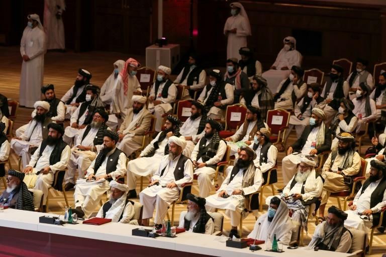 Members of the Taliban delegation at the opening session of the peace talks in Doha on September 12, 2020. Sources said progress has been made allowing full peace talks to get underway after some sticking points were resolved